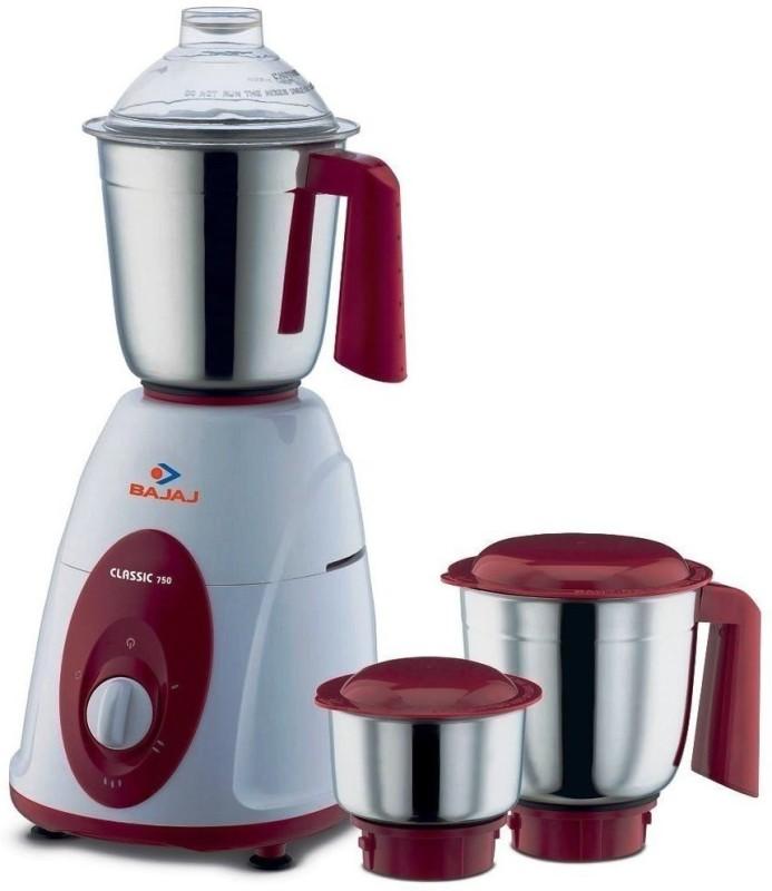 Bajaj CLASSIC 410174 750 W Mixer Grinder(White, Black, 3 Jars)