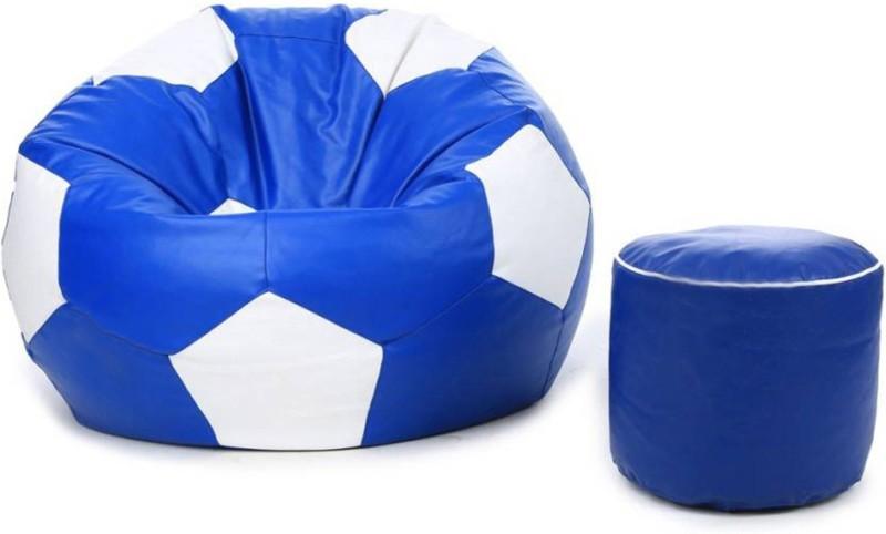 Mofaro XXL Classy football bean bag with Stylish foot stool Bean Bag  With Bean Filling(Multicolor)