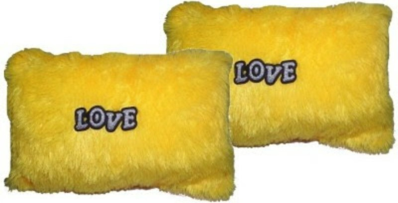 Kashish Trading Company Yellow Love Cushion 14 Inch Set Of-2 Strap on Breast Pillow