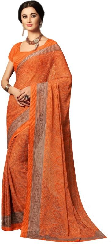SGM Printed Fashion Chiffon Saree(Orange)