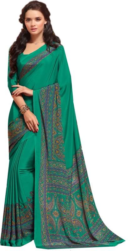 SGM Printed Fashion Crepe Saree(Green)