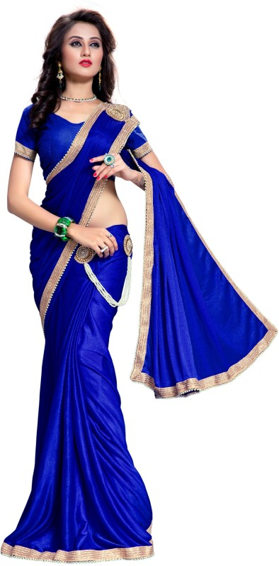 The Fashion Outlets Embellished, Embroidered Bollywood Lycra, Silk Saree(Blue)
