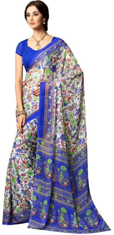 SGM Printed Fashion Chiffon Saree(Blue)