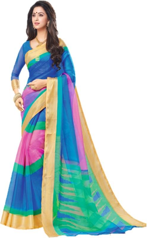 SGM Printed Bollywood Organza Saree(Multicolor)
