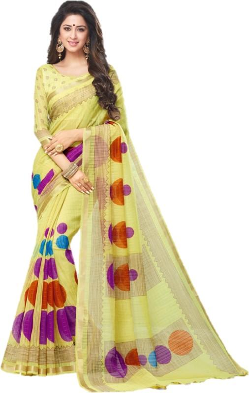 SGM Printed Fashion Silk Cotton Blend Saree(Yellow)