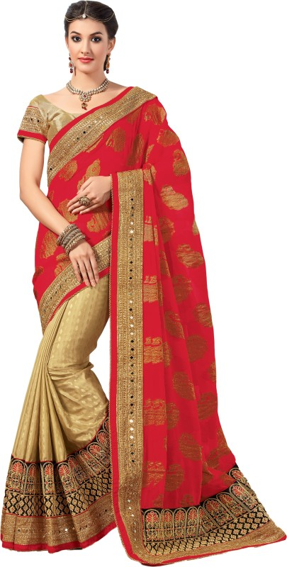M.S.Retail Embroidered Bollywood Brasso, Chiffon, Crepe Saree(Red)