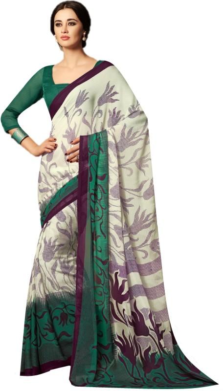 SGM Printed Fashion Chiffon Saree(Green)