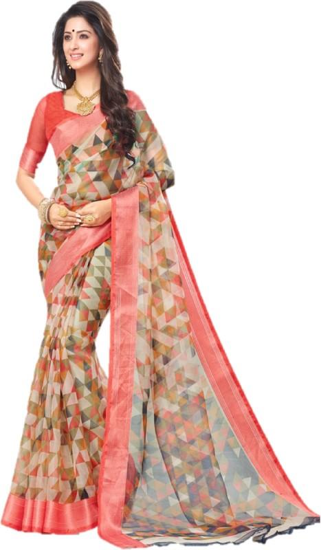 Lady Sringar Geometric Print Fashion Organza Saree(Multicolor)