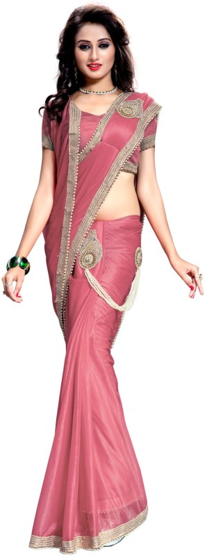 The Fashion Outlets Embellished, Embroidered Bollywood Lycra, Silk Saree(Pink)