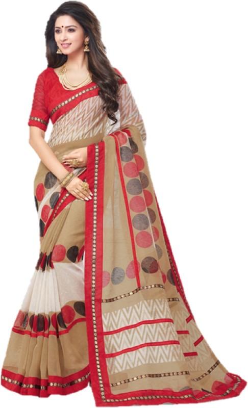 SGM Printed Fashion Silk Cotton Blend Saree(Beige)