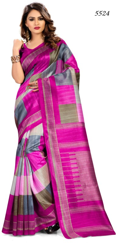 AJS Self Design, Printed, Geometric Print, Striped Fashion Art Silk Saree(Multicolor)