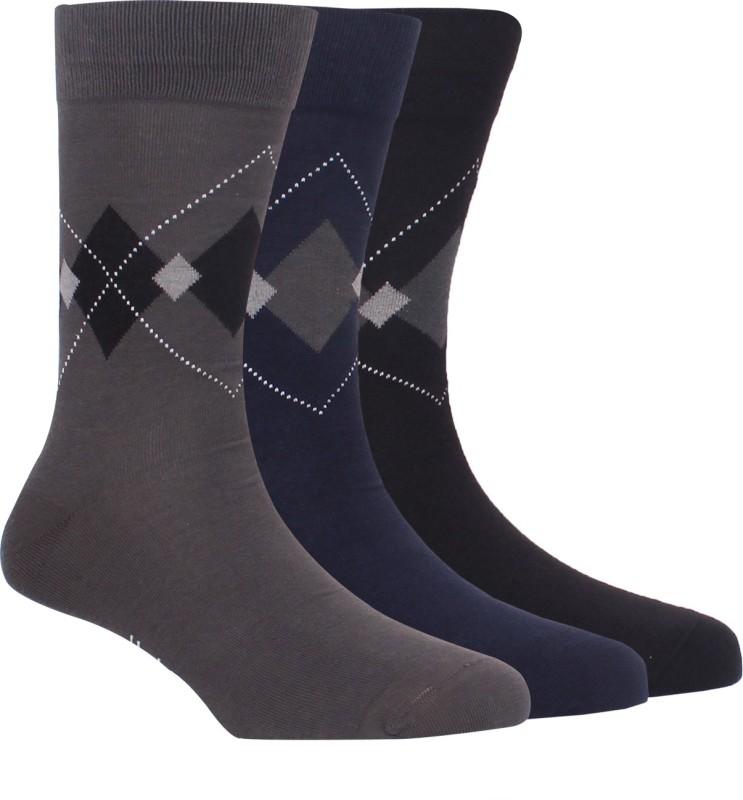 Hush Puppies Mens Geometric Print Crew Length Socks(Pack of 3)