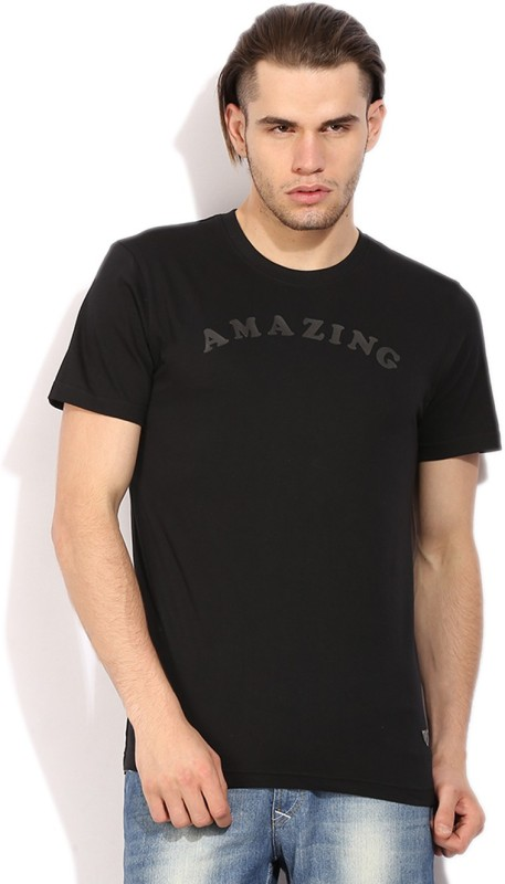 John Players Self Design Mens Round Neck Black T-Shirt
