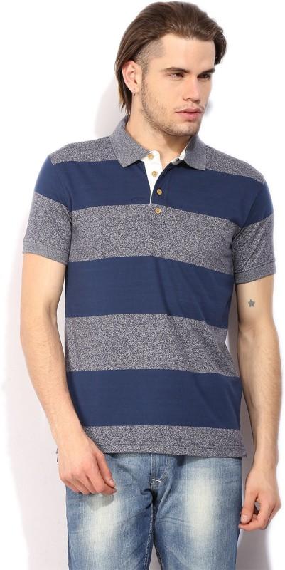 John Players Striped Mens Polo Neck Grey T-Shirt