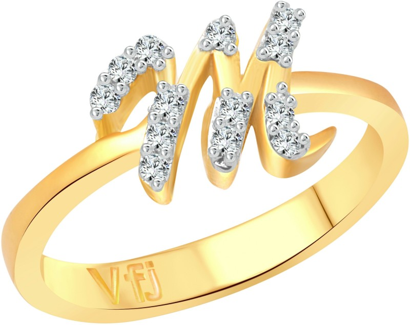 Vighnaharta Initial M Letter Rose Alloy Cubic Zirconia Gold-plated Plated Ring