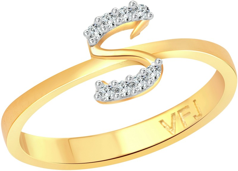 Vighnaharta Initial S Letter Rose Alloy Cubic Zirconia Gold-plated Plated Ring