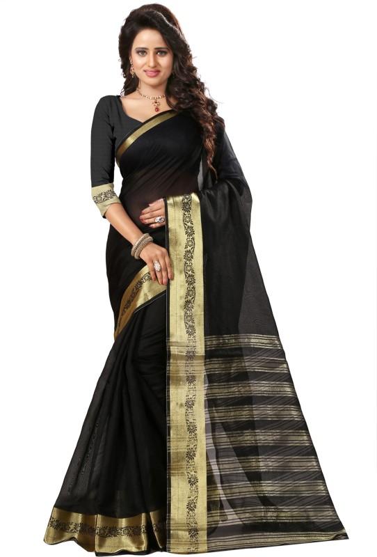 The Fashion Outlets Self Design, Solid Coimbatore Silk Cotton Blend, Jacquard Saree(Black)