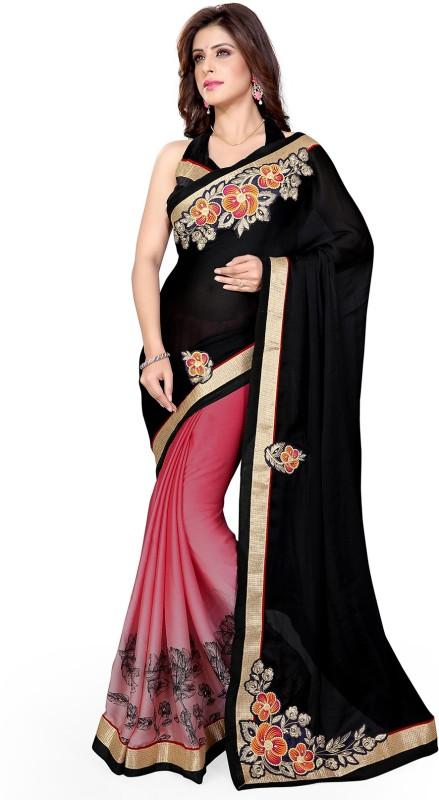 Mirchi Fashion Embroidered Fashion Chiffon Saree(Black, Pink)