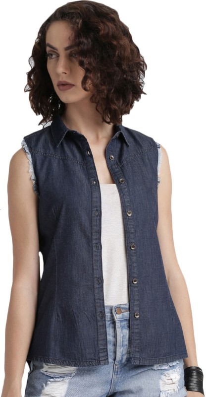 Roadster Womens Solid Casual Blue Shirt
