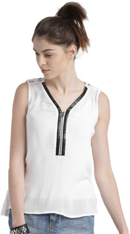 Roadster Casual Sleeveless Solid Women's White Top