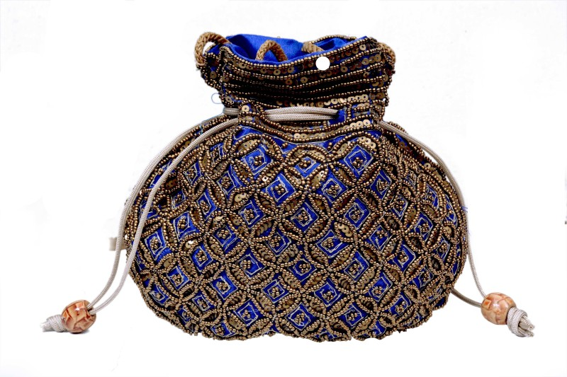 Craft Trade Handmade Blue Potli Bag for Girls Potli(Blue)