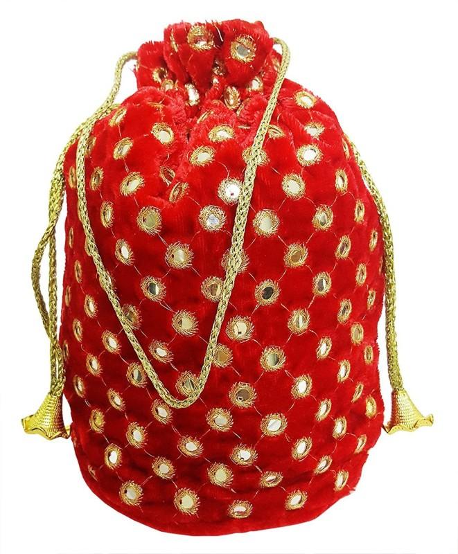 Mehrunnisa Shagun Potli Pouch With Heavy Mirror Work Pouch(Red)