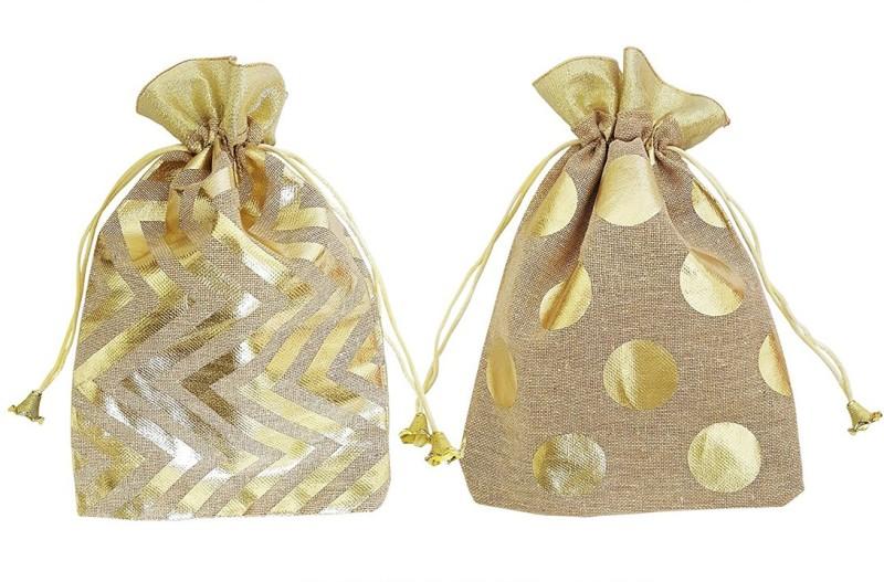 Mehrunnisa (Set Of 2) Beige & Golden Big Size Shagun Potli Pouch With Modern Design Pouch(Gold)