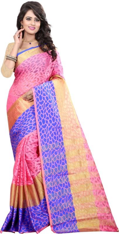The Fashion Outlets Self Design, Solid Coimbatore Silk Cotton Blend, Jacquard Saree(Blue)