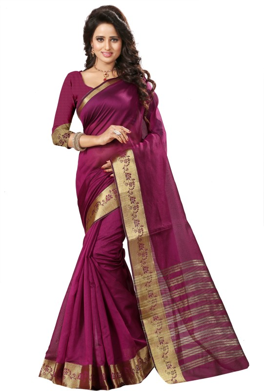 The Fashion Outlets Self Design, Solid Coimbatore Silk Cotton Blend, Jacquard Saree(Pink)
