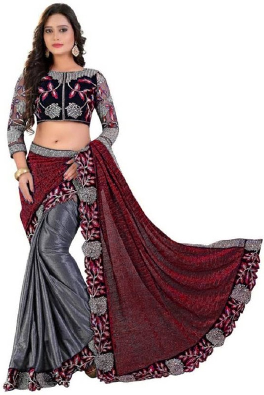Rudra Fashion Embroidered Bollywood Lycra Saree(Red)