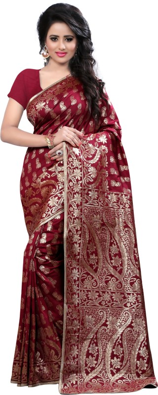 The Fashion Outlets Self Design, Solid Coimbatore Silk Cotton Blend, Jacquard Saree(Red)