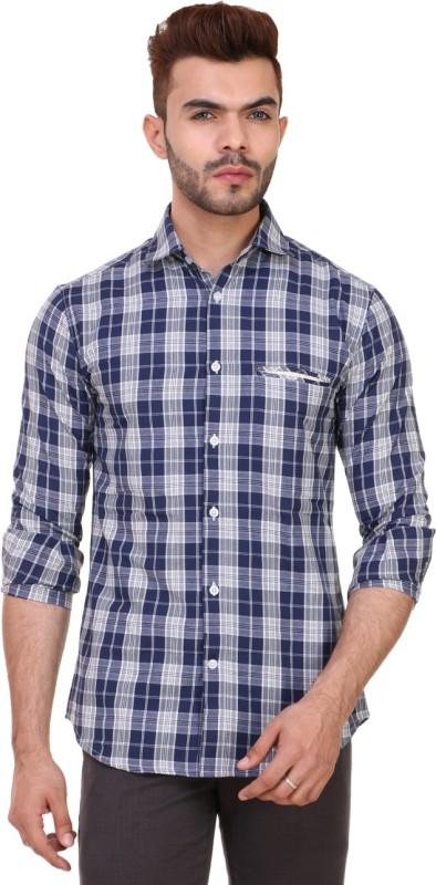 2. Skoosh Men's Checkered Casual Blue Shirt