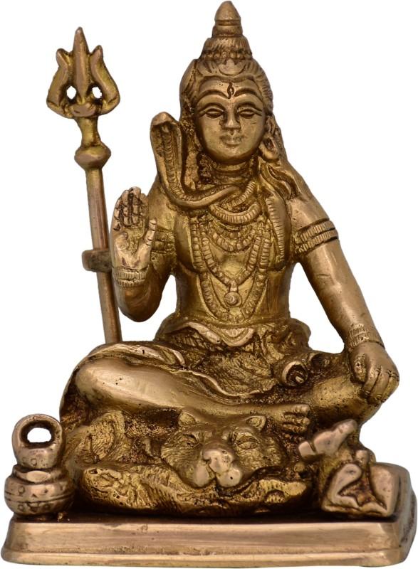 Purpledip Brass Statue Idol Of Lord Shiva Mahadev With Trishool: For Home Temple, Office Table Or Shop Puja Shelf Decorative Showpiece - 11 cm(Brass, Gold)