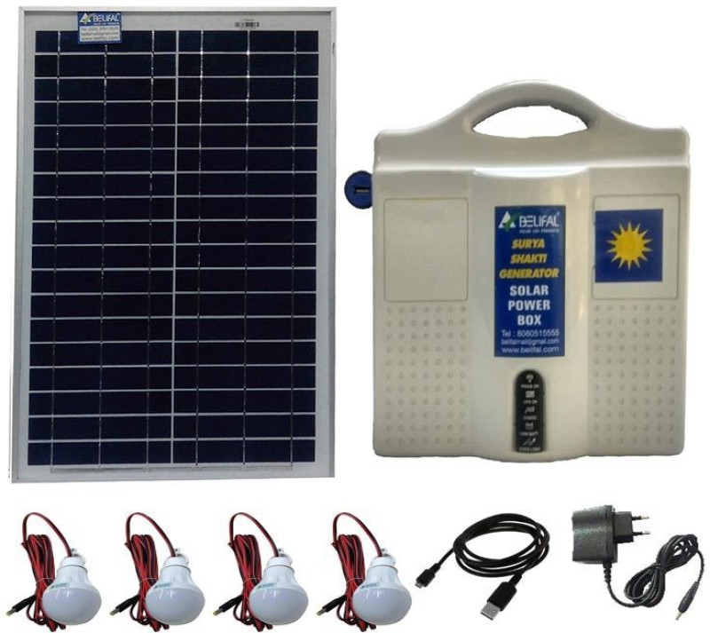 Belifal Solar Home Lighting System With 12V DC Bulbs(4pcs) & Solar Panel & Battery Box Solar Lights(White)
