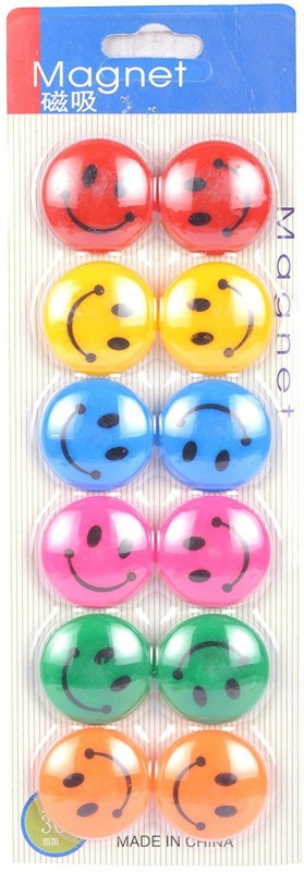 The Values Store Colored Smiley Magnets Multipurpose Office Magnets(Pack of 12)