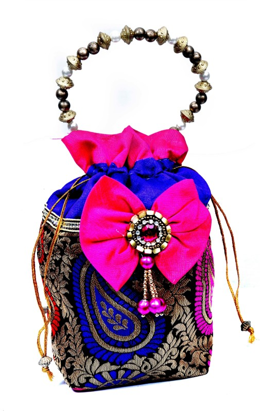 Craft Trade Designer Pink Flower Women Potli Bag Potli(Pink)