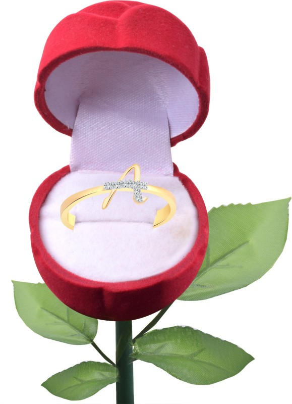 Vighnaharta Initial A Letter Rose Alloy Cubic Zirconia Gold-plated Plated Ring