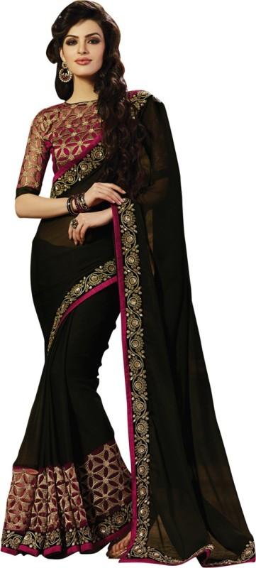 Saara Polka Print, Embellished, Embroidered Fashion Chiffon, Satin Saree(Black, Maroon)
