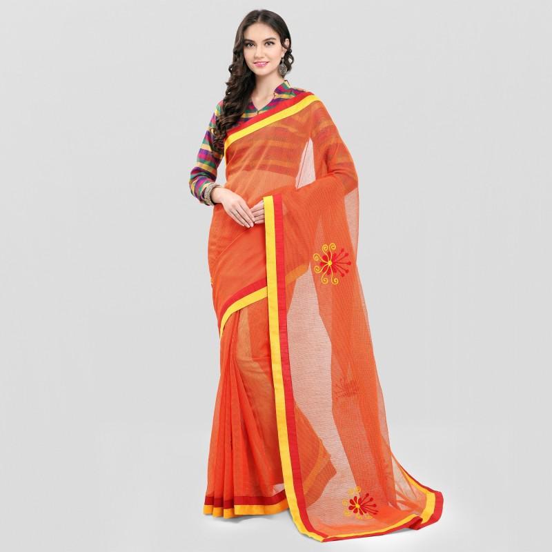 sarngin boutique Embroidered Kanjivaram Kota Silk Saree(Multicolor)