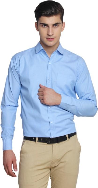 5. Van Galis Men's Solid Formal Light Blue Shirt