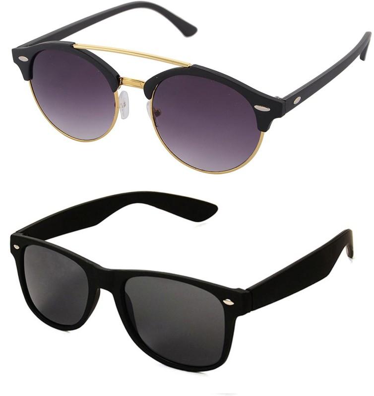 Aventus Round, Wayfarer Sunglasses(Black)