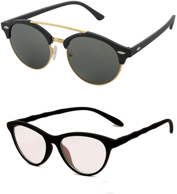 Aventus Round, Cat-eye Sunglasses(Green, Clear)