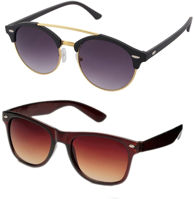 Aventus Round, Wayfarer Sunglasses(Black, Brown)