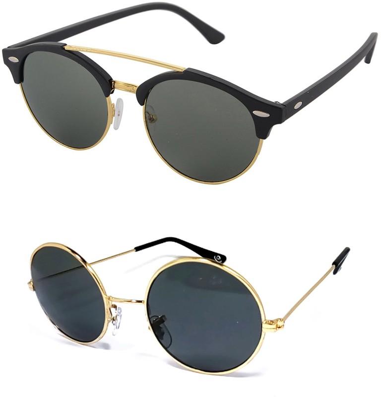 Aventus Round, Clubmaster Sunglasses(Green, Black)