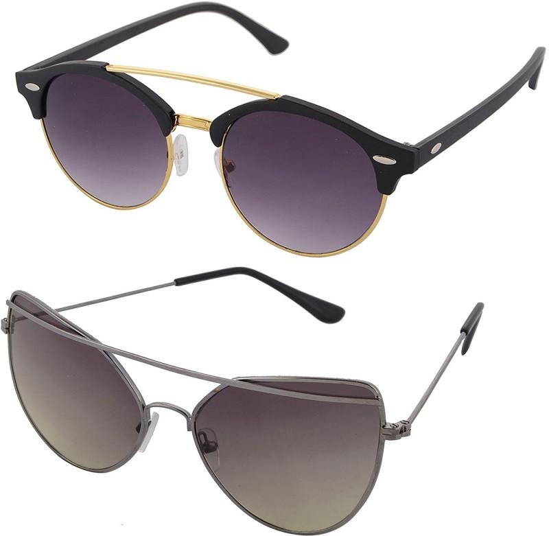 Aventus Round, Cat-eye Sunglasses(Black, Green)
