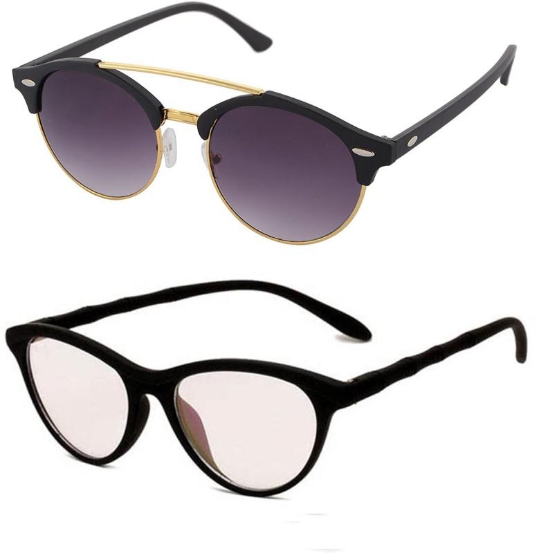 Aventus Round, Cat-eye Sunglasses(Black, Clear)