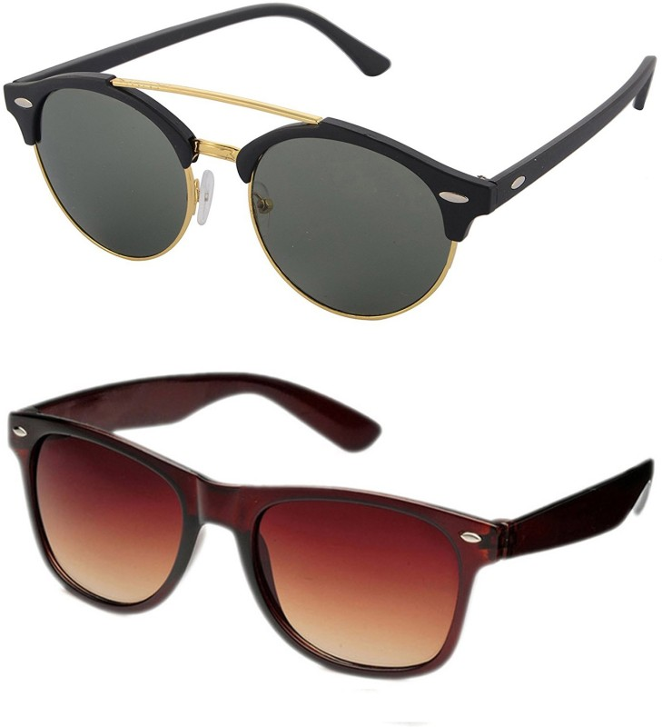 Aventus Round, Wayfarer Sunglasses(Green, Brown)