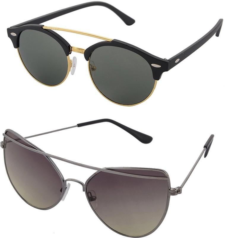 Aventus Round, Cat-eye Sunglasses(Green)