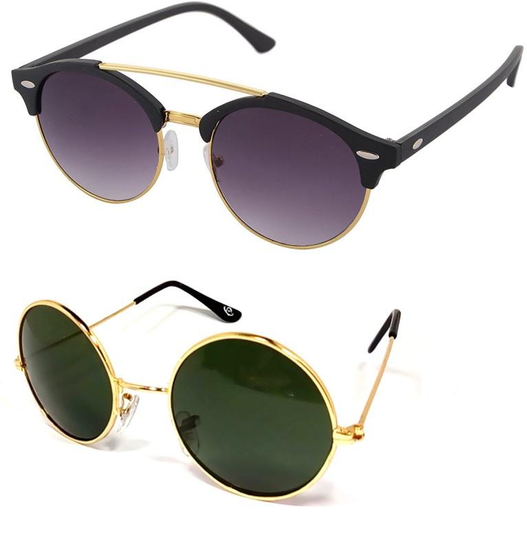 Aventus Round, Clubmaster Sunglasses(Black, Green)