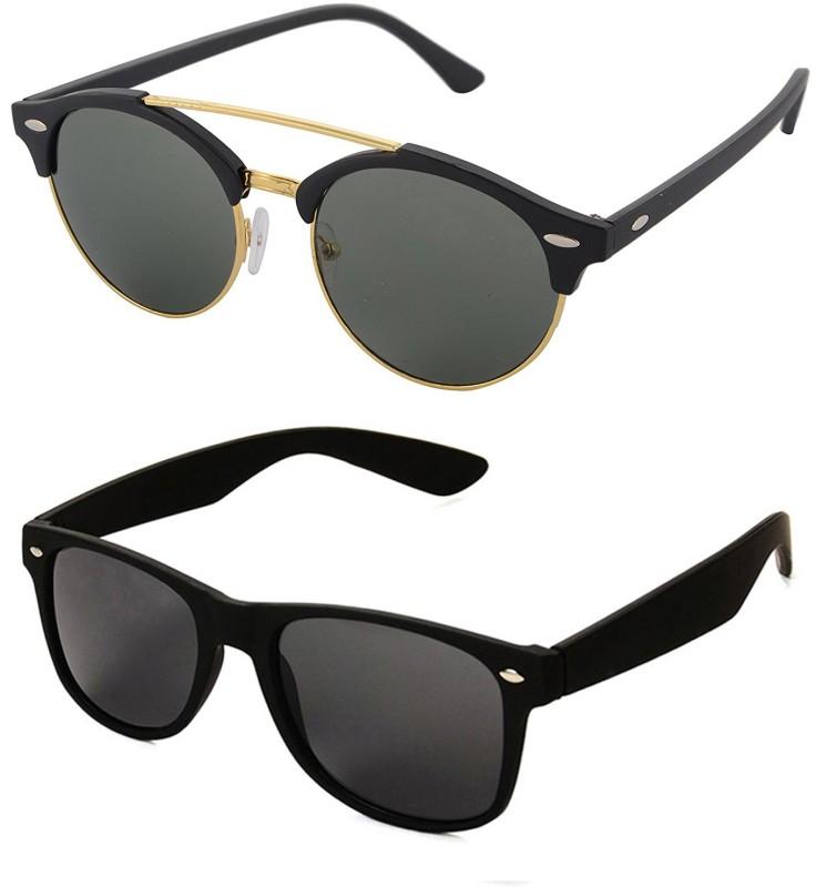 Aventus Round, Wayfarer Sunglasses(Green, Black)
